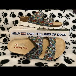 NEW Skechers BOBS Multi Dog Print Slides SIZE 6